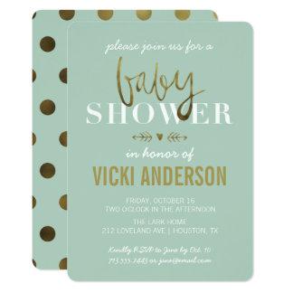 Convites modernos do chá de fraldas do ouro Glam