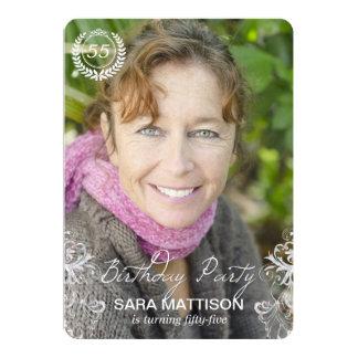 Cartão Convites modernos elegantes do aniversário da foto
