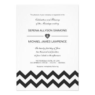 Convites modernos preto e branco do casamento de C