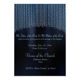 Convites modernos Sparkling azuis do casamento do
