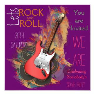 Convites musicais personalizados da guitarra