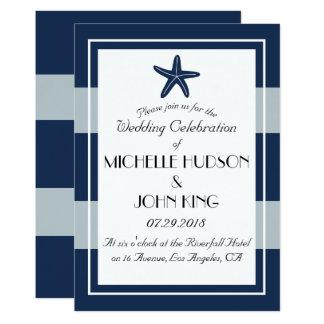 Convites náuticos do casamento da estrela do mar