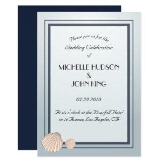 Convites náuticos do casamento do Seashell da