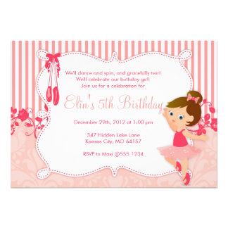 Convites pequenos do aniversário da bailarina - ve
