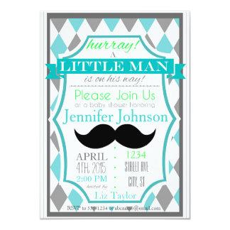 Convites pequenos do chá de fraldas do bigode do convite 11.30 x 15.87cm
