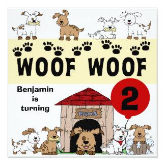 Convites personalizados do aniversário do cão de convite quadrado 13.35 x 13.35cm