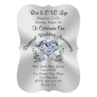 Convites personalizados do aniversário do diamante