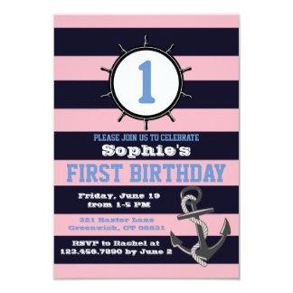 Convites Pink&Blue do aniversário do marinho