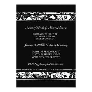 Convites preto e branco da festa de noivado da