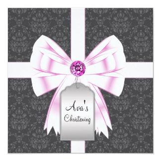 Convites pretos cor-de-rosa do batismo do bebê do