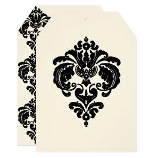 Convites pretos do casamento tema damasco