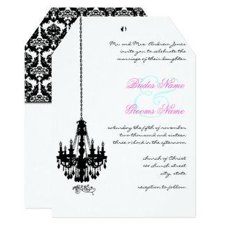 Convites pretos do casamento tema damasco do