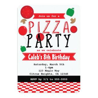 Convites pretos do partido da pizza & brancos