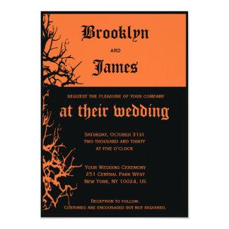 Convites pretos e alaranjados do casamento do Dia