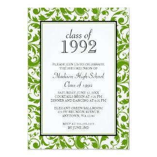 Convites pretos verdes da reunião de classe do