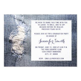 Convites rasgados da graduação do olhar de jeans