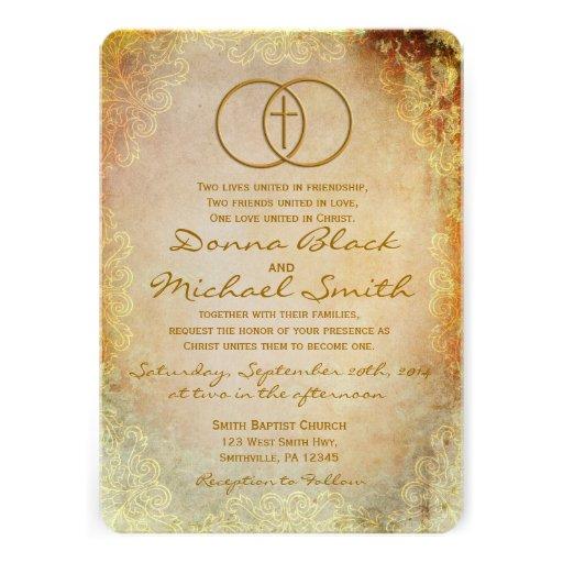 Convites religiosos transversais cercados do casam