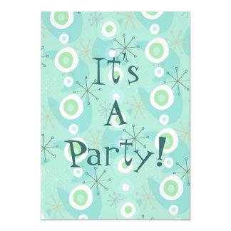 Convites retros demasiado bonitos azuis/do verde