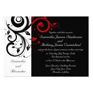 Convites reversos pretos/brancos/vermelhos do casa