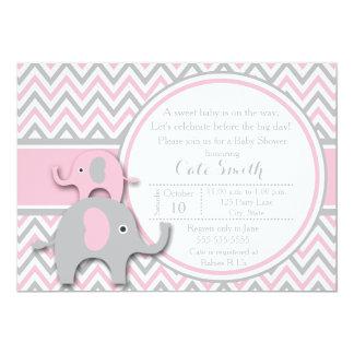Convites, rosa e cinzas do chá de fraldas do convite 12.7 x 17.78cm