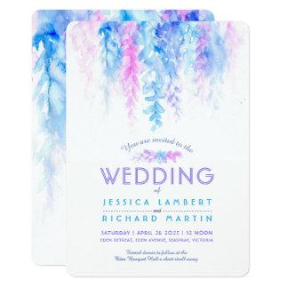 Convites roxos azuis do casamento da videira da