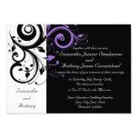 Convites roxos brancos pretos do casamento do convite 12.7 x 17.78cm