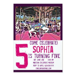 Convites roxos cor-de-rosa do aniversário do