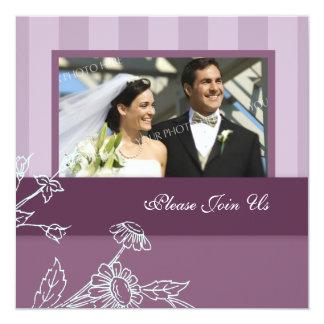 Convites roxos da renovação do voto de casamento