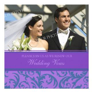 Convites roxos da renovação do voto de casamento d