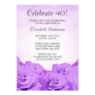 Convites roxos do aniversário de 40 anos dos rosas