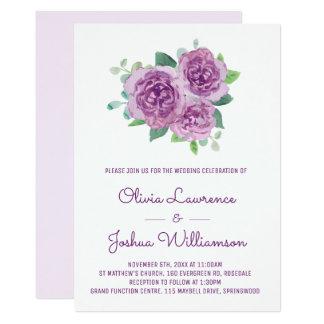 Convites roxos do casamento da aguarela dos rosas