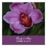 Convites roxos do casamento da orquídea