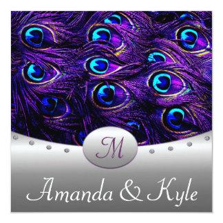 Convites roxos do casamento do pavão