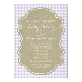 Convites roxos do chá de fraldas de serapilheira convite 12.7 x 17.78cm