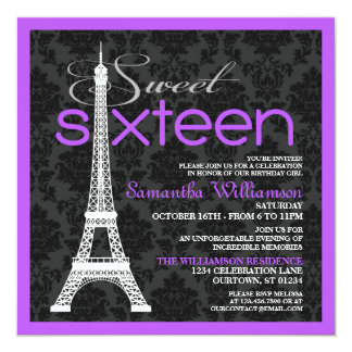 Convites roxos do doce 16 de Paris