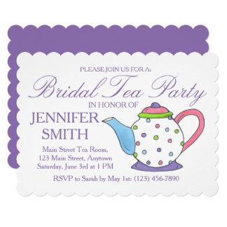 Convites roxos do tea party do chá de panela do