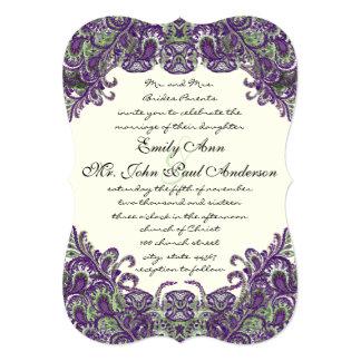 Convites roxos & verdes do casamento do marfim do