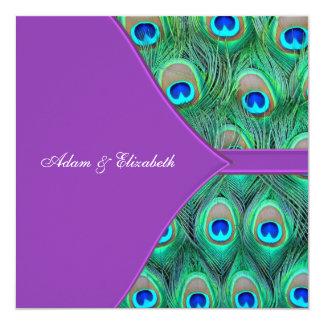 Convites roxos violetas do casamento do pavão