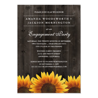 Convites rústicos da festa de noivado do girassol