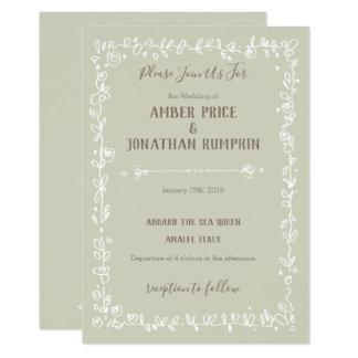 Convites rústicos do casamento da beira branca do