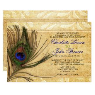 Convites rústicos do casamento da pena do pavão
