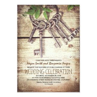 Convites rústicos do casamento das chaves de