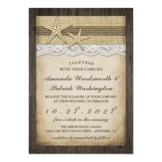 Convites rústicos do casamento de praia da estrela