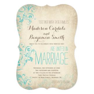 Convites rústicos do casamento do Flourish do Aqua