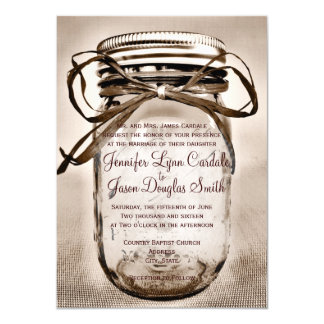 Convites rústicos do casamento do frasco de