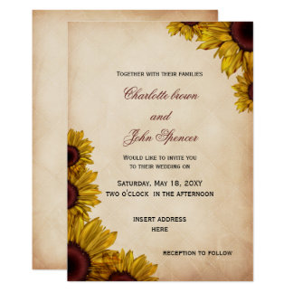 Convites rústicos do casamento do girassol
