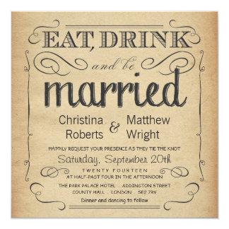 Convites rústicos do casamento do pergaminho do