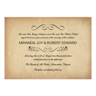 Convites rústicos do casamento do pergaminho do vi
