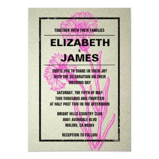 Convites rústicos do casamento do rosa quente do