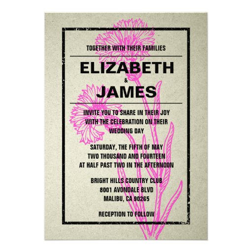 Convites rústicos do casamento do rosa quente do v